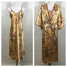 Secret Treasures Long Silky Kimono Robe Nightgown Gold Red Slinky Asian Floral L