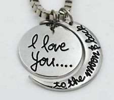 "White Gold Plated 'I LOVE YOU TO THE MOON AND BACK'  Pendant Necklace 18"" - 59"