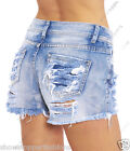 NEW Womens SHORTS Rip DENIM Blue Ladies HOT PANTS Size 6 8 10 12 14 Jean short