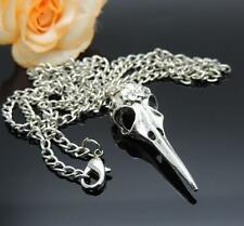 1Pcs Antique Silver Bird Head Skull Skeleton Halloween Necklace Pendant Charms
