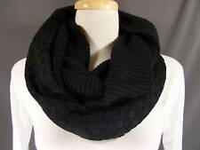 Black textured knit super soft circle infinity endless loop long scarf crochet
