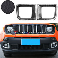 Carbon Fiber Style Front Bumper Air Duct Intakes Vent Covers For Jeep Renegade