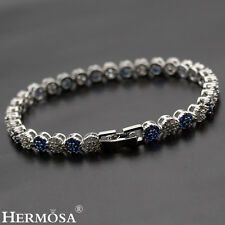 Graceful White CZ & Blue Sapphire Hermosa 925 Sterling Silver Girls Bracelets 7""