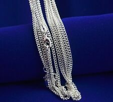 "Bulk Wholesale Lots 5pcs 2mm 30"" Silver Plated Snake Rolo Curb Chain Necklace"