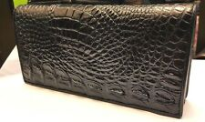 Genuine Crocodile Wallets Alligator Skin Leather Long Bifold Men's Purses Black