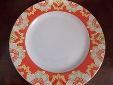 222 FIFTH~MANALI~ORANGE YELLOW GREEN~ SET OF 4 DINNER PLATES~NEW~