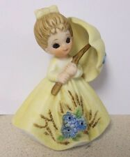 "George Good ""April Showers"" yellow girl w/umbrella figurine Josef Originals"