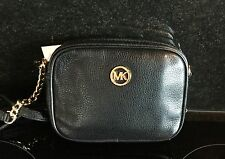 Michael Kors Jet Set Hamilton Black Leather Crossbody Shoulder Bag New with Tags