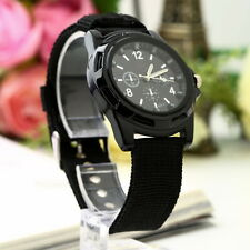 Unisex Men Women Luminous Quartz Wrist Watch Canvas Belt Army Sport Style DG