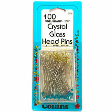 "Collins Crystal Glass Head Pins Fine Sharp-1 7/8"" 100 Count  #C110"