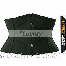 Shaper Cincher Mini Waspie Full Steel Boned Waistbust Sexy Black Cotton Corset
