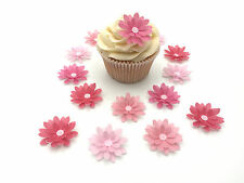 14 Edible Shades of Pink 3D Flowers Pre Cut Wafer Cupcake Toppers