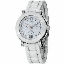 Fendi Women's 'Ceramic' White Dial Chronograph Quartz Bracelet Watch
