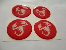 4pcs FIAT ABARTH 64 mm 3D Wheel center caps Emblem Sticker Decal Badge Silicone