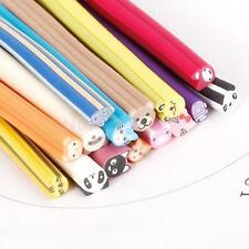 Bulk 15Pcs Panda Bear Pig Fish Zoo Slice Fimo Polymer Clay Canes Nail Art Rods