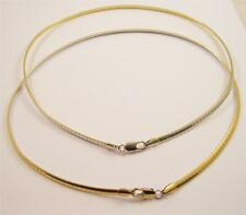 "New 2 in 1  4mm Reversible Gold & Silver 16"" Omega Necklace w/ Lobster Clasp CP7"