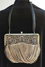 New The Find Womens Purse Handbag Shoulder Bag  Beaded Satin Lining Art Deco
