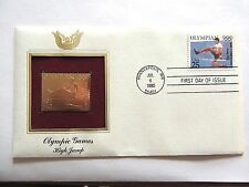 """July 6th, 1990  Olympic Games """"High Jump"""" First Day Gold Stamp Issue"""