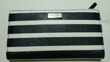 KATE SPADE BRIGTHWATER DRIVE LONG WALLET-BLACK and WHITE STRIPES