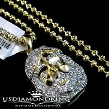 MENS WOMEN REAL GENUINE DIAMOND 14K YELLOW GOLD G/P MINI JESUS PENDENT+CHAIN SET