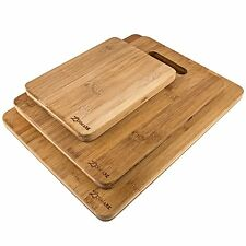 3 Piece Bamboo Cutting Board Set Eco Wood Kitchen Food Chopping Surface Boards