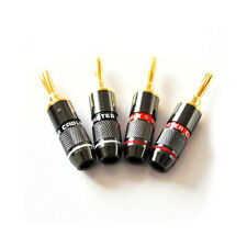 4pcs Banana Plug Adapter Audio Speaker Jack Connector Gold Plated High quality