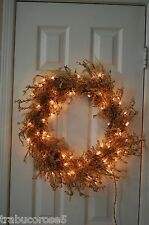 Amazing Pre-lit Gold Iridescent Iced Glitter Christmas/Holiday Door Wreath/24""