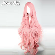 Vocaloid Megurine Luka 100CM Long Curly Wavy Pink Hair Anime Cosplay Wig