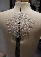 White floral cotton lace applique / bridal wedding bolero lace motif By piece