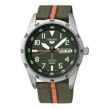 Seiko 5 Sports SRP515 K1 Silver Green Nylon Strap Automatic Watch Seiko Box