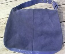 Stylish Simple GAP Large Purple Suede Shoulder Bag Purse Hobo Tote