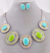 Silver With Green and Blue Acrylic Bib Necklace Earrings Set Fashion Jewelry NEW