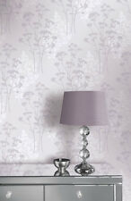 Flower Wallpaper Floral Textured Glitter Embossed Heather Lilac Silver Arthouse
