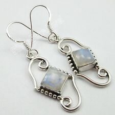WELL MADE Earrings, 925 Solid Silver RAINBOW MOONSTONE Jewelry 4.2 CM 4.5 Grams