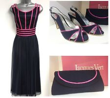 Jacques Vert Mother of the Bride Matching Dress UK 20 Shoes UK 5 & Handbag Bag