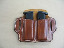 Walther PPQ M1/M2 9mm / .40 Leather 2 Slot Molded Pancake Belt Mag Pouch TAN