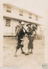 1942 WWII 2  US Soldiers with rifles, bayonets,  gas masks, ammo belts  photo