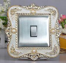 Luxurious Embossment Cream Surface & Gold Flower Light Switch Surround, Sticker