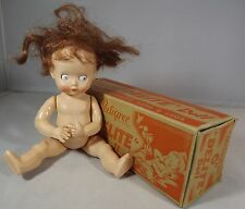 "VINTAGE 1950s BOXED 6"" PEDIGREE DELITE HARD PLASTIC DOLL WITH BROWN WIG"