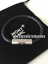 Montblanc Bracelet Men Silver Threat Leather