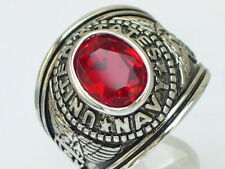 12x10 mm United States Navy Military January Red Garnet Stone Men Ring Size 7