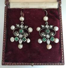 An Unusual Pair Of Georgian Emerald, Enamel & Rose Cut Diamond Earrings Cr 1700s