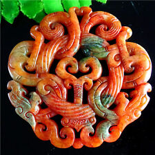 Pretty unique Carved Chinese Old Jade Pendant Bead H66Y3109