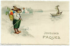 LAPIN HUMANISé. PAQUES. HUMANIZED RABBIT. AU REVOIR. GOODBYE. BARQUE. SMALL BOAT