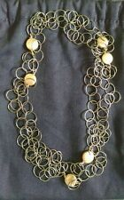 Blackened silver link chain necklace with gold vermeil discs