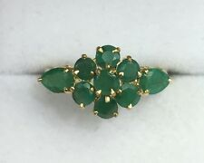 14k Solid Yellow Gold Cluster Flower Band Ring, Natural Emerald 1.8TCW, Sz 8