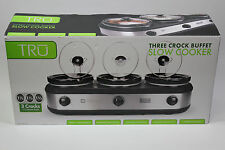 TRU Triple Slow Cooker Buffet Warmer 3 Pot Crock Set Fast Free Shipping!