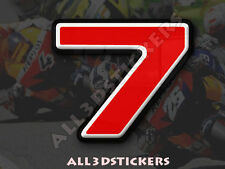 3D Stickers Resin Domed NUMBER 7 SEVEN - Color Red - 50 mm(2 inches) Adhesive