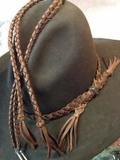 HANDMADE BROWN SINGLE STRAND FLAT BRAIDED LEATHER WESTERN HATBAND & STAMPEDE SET