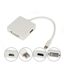 3in1 Thunderbolt Mini DP Display Port to HDMI DVI VGA Adapter Cable For Mac Air